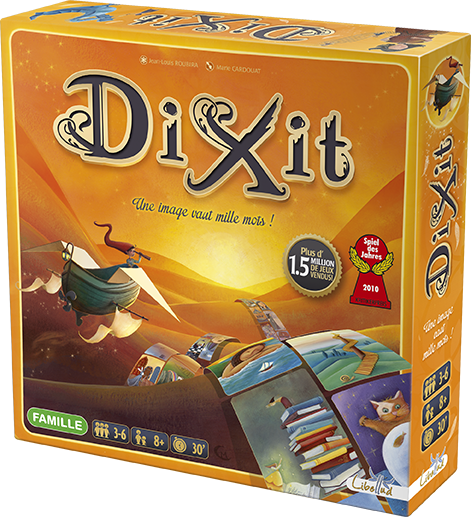 A picture of the game box for Dixit by Libellud