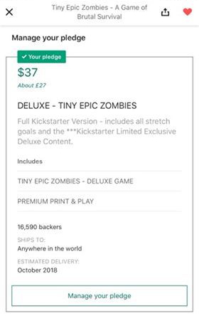 A Screenshot showing my pledge level for Tiny Epic Zombies.