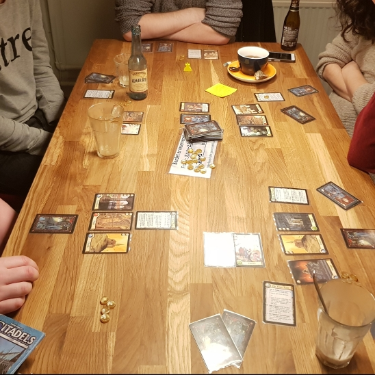 A mid game photograph of our game of Citadels by Bruno Faidutti.