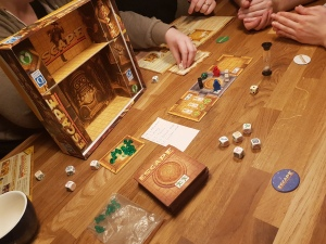 A photograph of Escape: the Curse of the Temple set up and ready to play