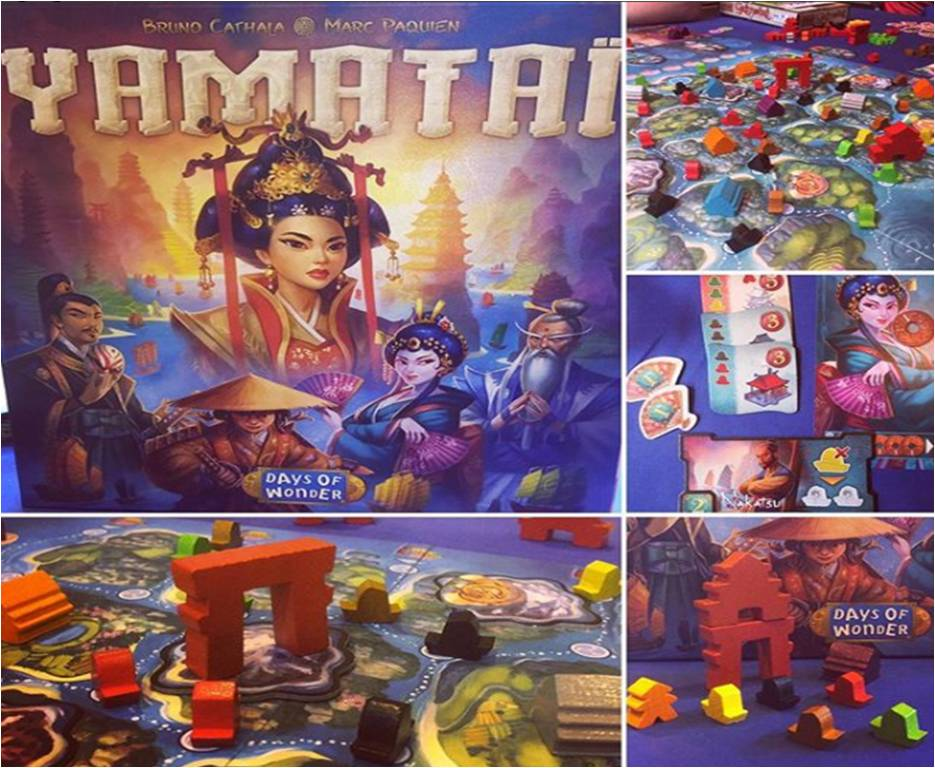 A collage of photos taken during our demo of Yamatai published by Days of Wonder at UKGE 2017