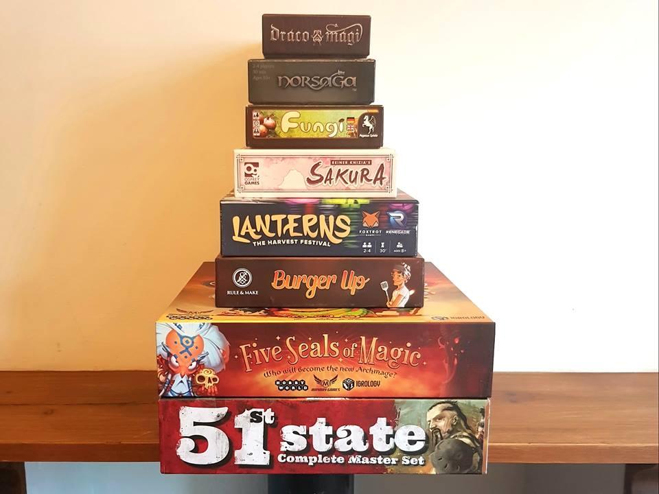 A Picture of My Bring & Buy Bargains! Draco Magi, Norsaga, Fungi, Sakura, Lanterns, Burger Up, Five Seals of Magic, 51 State