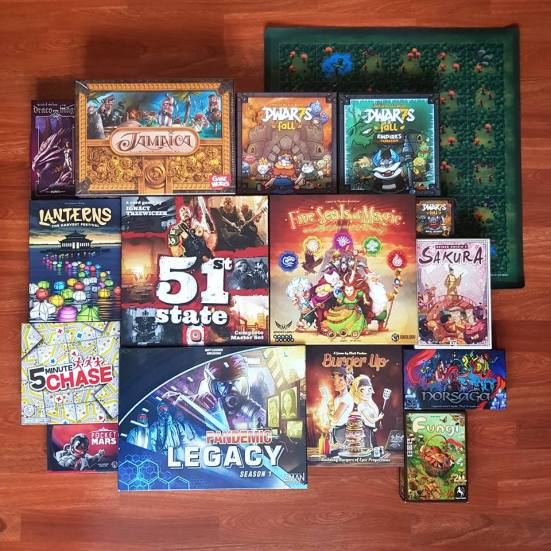 A selection of games that I bought at the UK Games Expo 2018. It Includes: Pandemic Legacy S1, Burger Up, Fungi. Pocket Mars, 5 Minute Chase, Norsaga, Lanterns, 51st State, 5 Seals of Magic, Sakura, Draco Magi, Jamaica and a Dwar7s Fall collection.