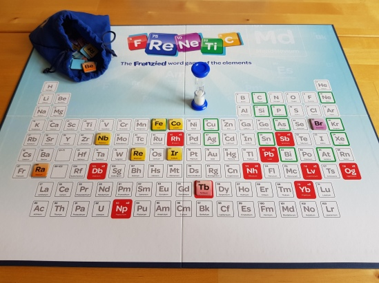 Photo showing the game board with 8 tiles, the element bag and the 45 second timer.