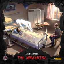 A photo of the box art of Escape Tale: The Awakening (Image Credit - Board And Dice). The image shows a father sat in a hostpial room looking at his daughter who is in a hospital bed. Above the bed is the silhouette of a girl.