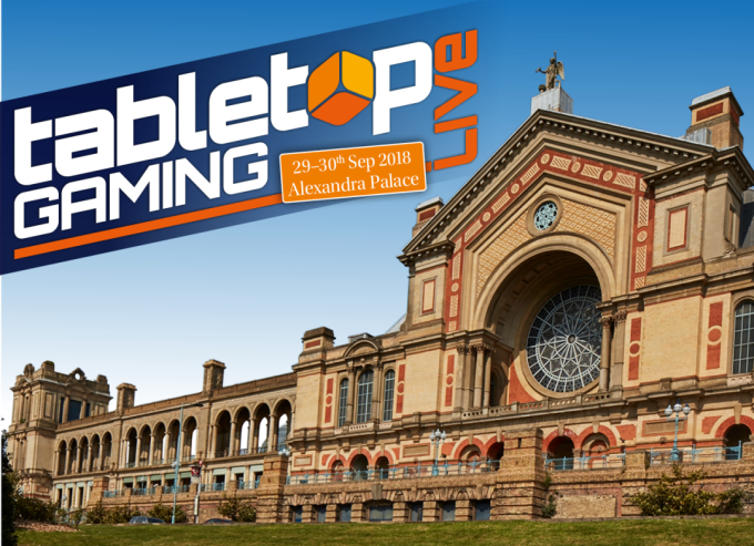 Photo of Alexandra Palace with the Tabletop Gaming Live Logo superimposed.