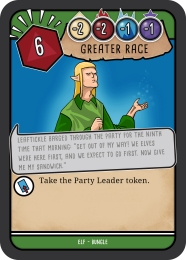 "This image shows an example of a bungle card from the elf deck. Along the top of the card are five game statistics, most notably is the number in the hexagon shape 'styled on a d20' this shows the critical fail number of 6 a key game statistic. Below these states is a sketch of a blonde elf gesturing over to the side with a raised arm. The image cation reads 'Leaftickle barged through the party for the ninth time that morning: ""Get out of my way! We elves were here first, and we expect to go first. Now give me my sandwich."" '"