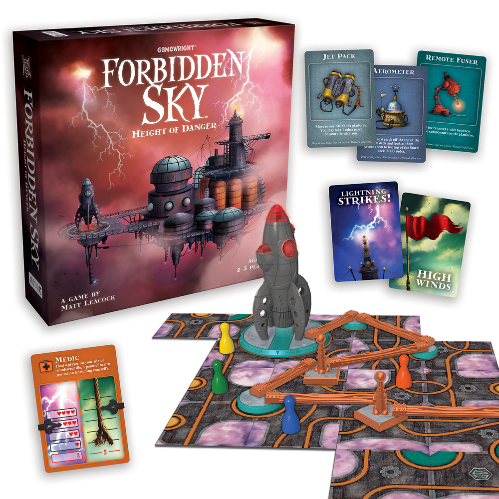 An image showing the Forbidden Sky Box and game components. Image Credit - Gamewright.