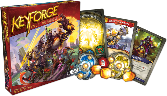 A picture showing the KeyForge Box and components (Image Credit - Fantasy Flight Games)