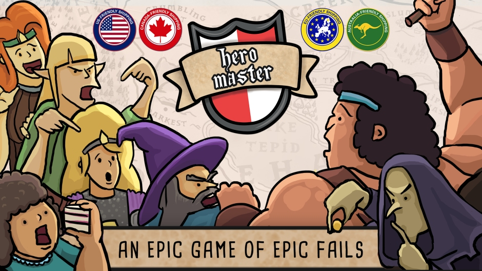 A picture showing the main characters of the game (a barbarian, a wizard and an elf) as well as a few of snoozehaven's residents in a dysfunctional argument. In the middle of the image is the Hero Master logo and symbols showing that the project is USA, Canada, EU and Australia friendly (in terms of shipping).