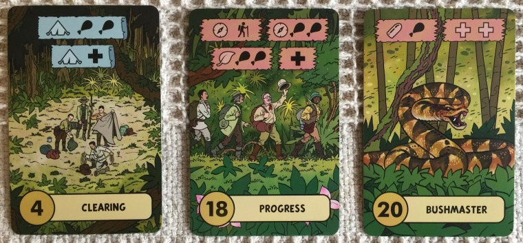 The adventure cards in the picture below show that the explorers come across a clearing, they Progress and encounter a Bushmaster. This could be resolved as follows: Clearing: Lose an expertise (camping) to gain two food tokens, or one health token, or alternatively as the captions are blue you could choose to do neither or both. Progress: As the captions are red you must decide which one caption to resolve. You could lose an expertise (navigation) to either advance your pawn along the expedition cards, or gain two food tokens. You could lose an expertise (jungle) to gain two food tokens, or just gain one health. Bushmaster: Again the captions are in red so you must decide one of the two options to resolve. The choices are using ammunition to gain a food, or lose two health tokens. Each card is completely covered with the cartoon style artwork of Garen Ewing.