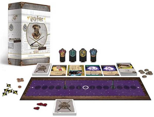 Photograph of the game box and game components for Harry Potter - Defence Against the Dark Arts