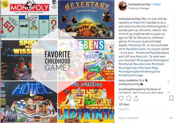 A Screenshot of an Instagram Post by @brettspielsuechtig . In the background are board game box covers for Monopoly, SPiel Des Wissens, Hotel, Hexentanz, Life, and Labyrinth. In front is a text box asking the question 'Favourite Childhood Game?' On the side is the original image caption which reads 'After my post and the reactions to Labyrinth I decided todo a post about my favourite childhood games. I actually grew up with some 'classics' and some of you might be able to guess my age now. So here's my childhood games.